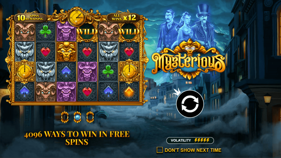 Mysterious Slot Machine Welcome Screen