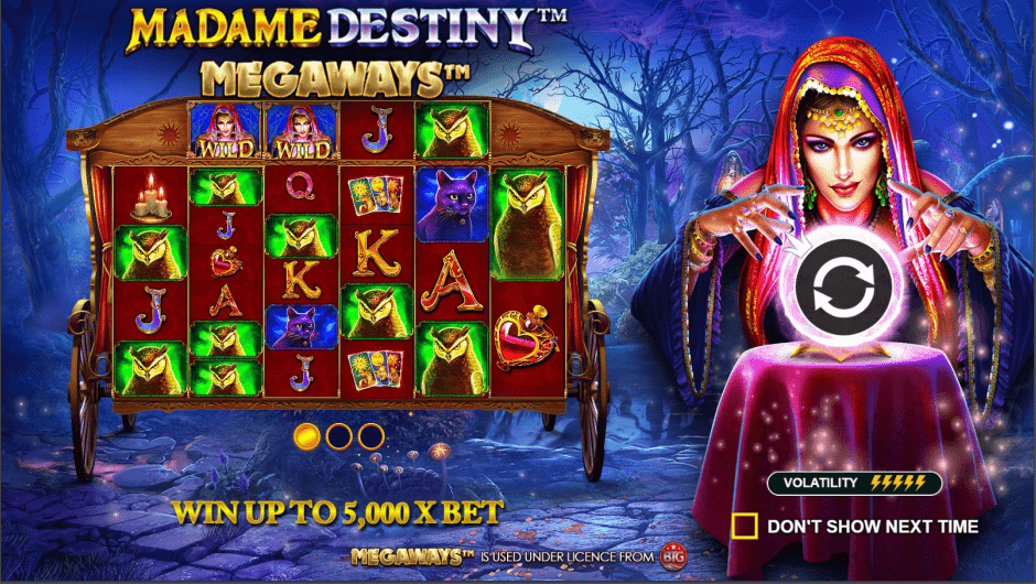 Madame Destiny Megaways Video Slot Welcome Screen