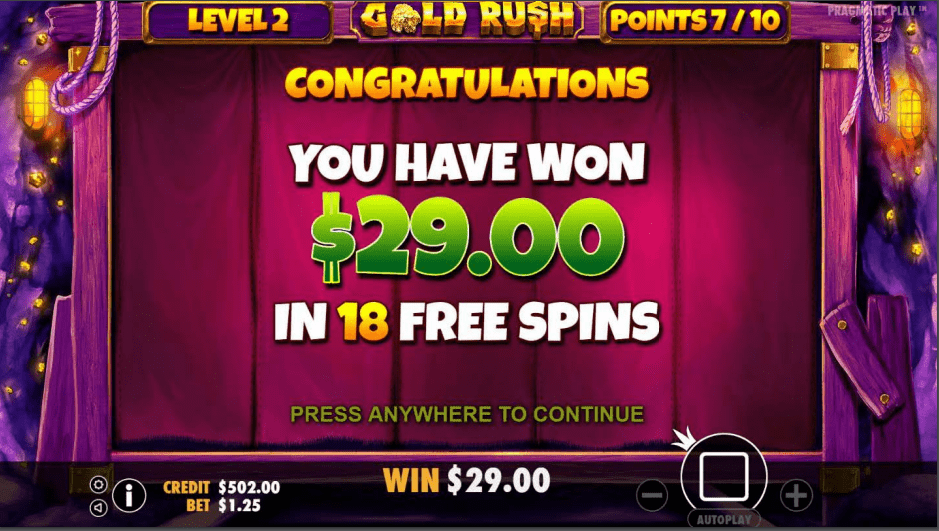 Gold Rush Free Spins Video Slot Game