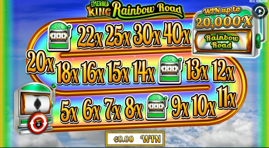 Emerald King Rainbow Road Video Slot Bonus FEature