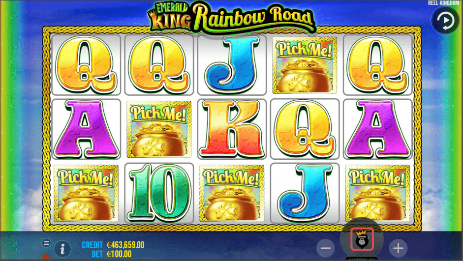 Emerald King Rainbow Road Video Slot Pick Me Bonus