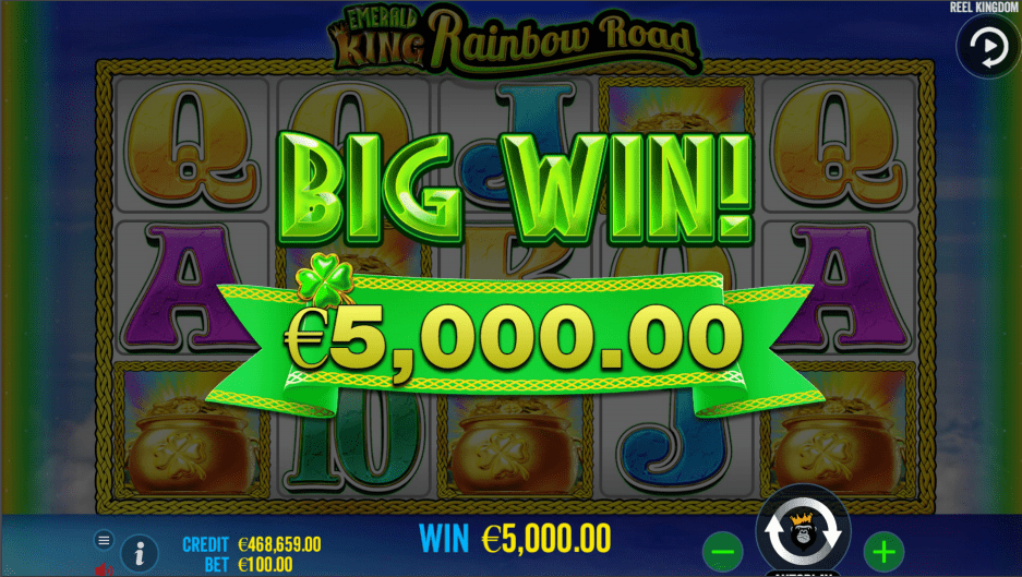Emerald King Rainbow Road Video Slot Big Win