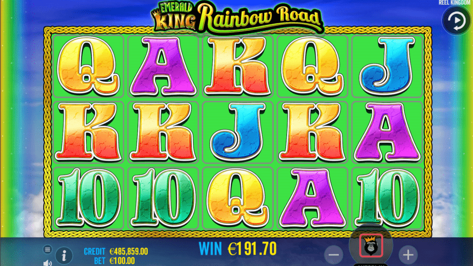 Emerald King Rainbow Road Slot Machine Green Reels