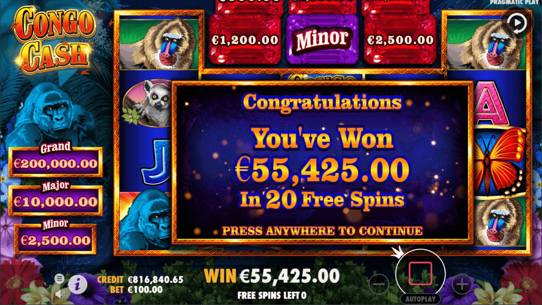 Congo Cash Video Slot Feature Win