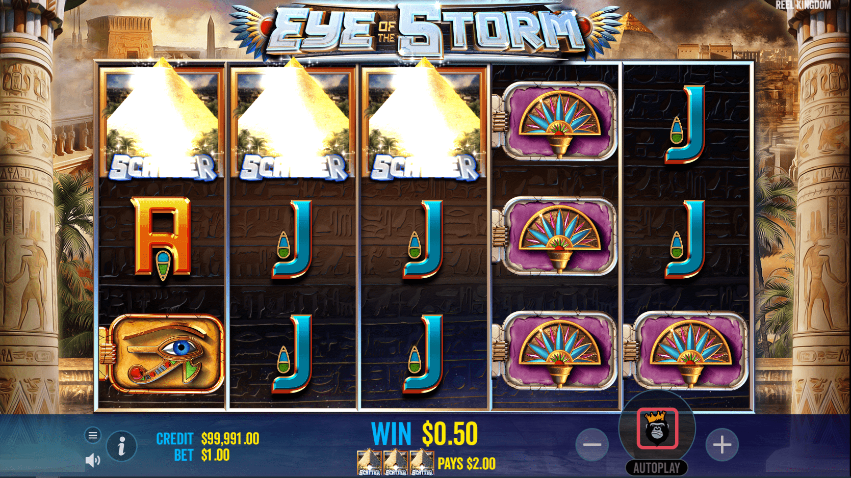Eye of the Storm Slot Game Scatter Trigger