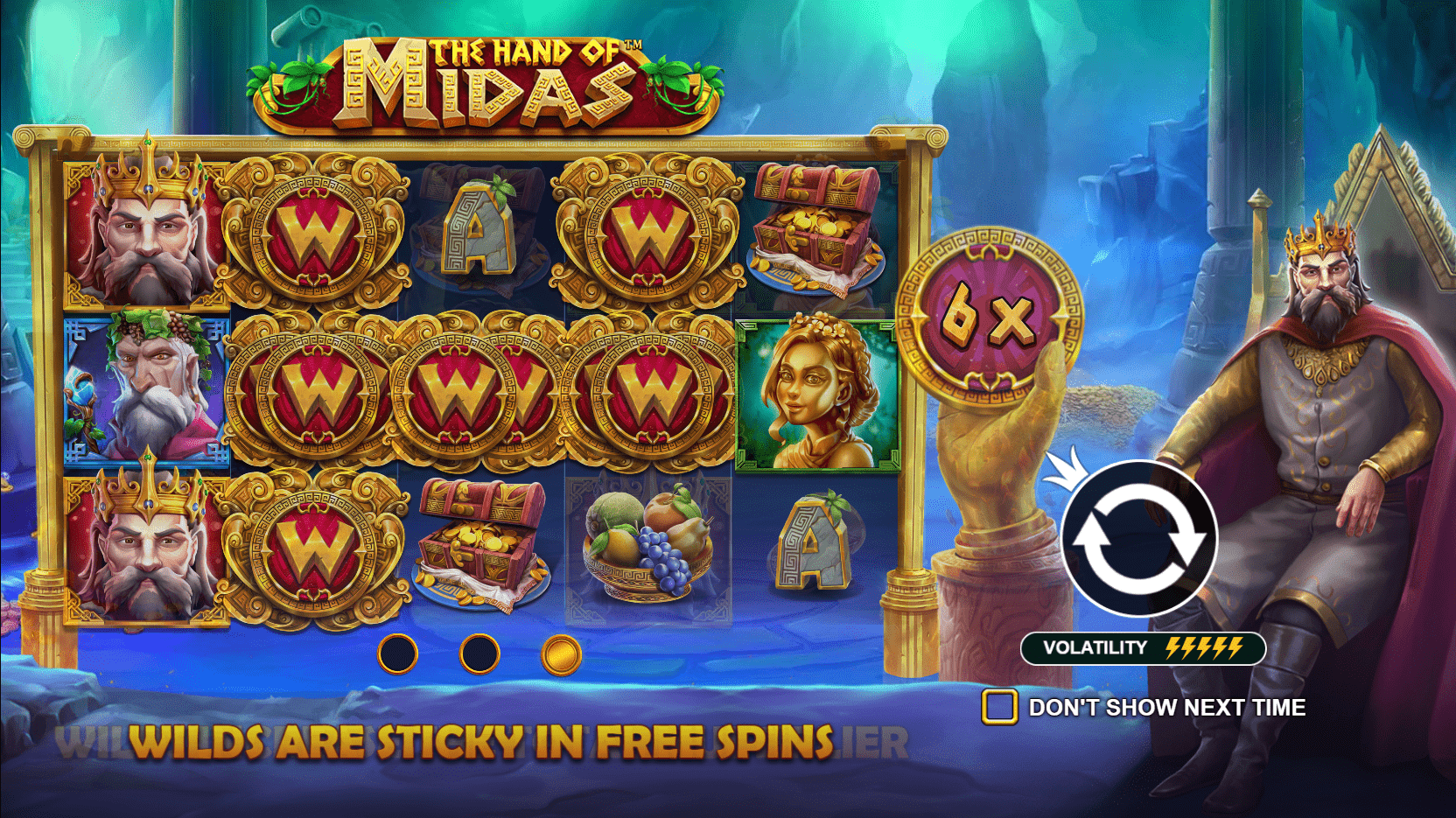 The Hand of Midas Video Slot Welcome Screen