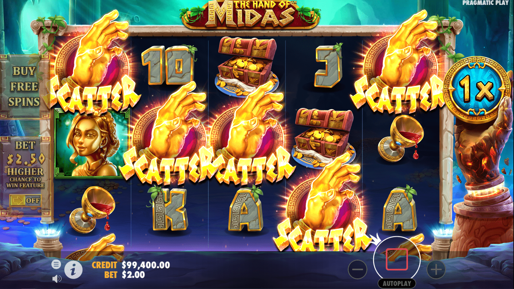 The Hand of Midas Video Slot Game Five Scatters