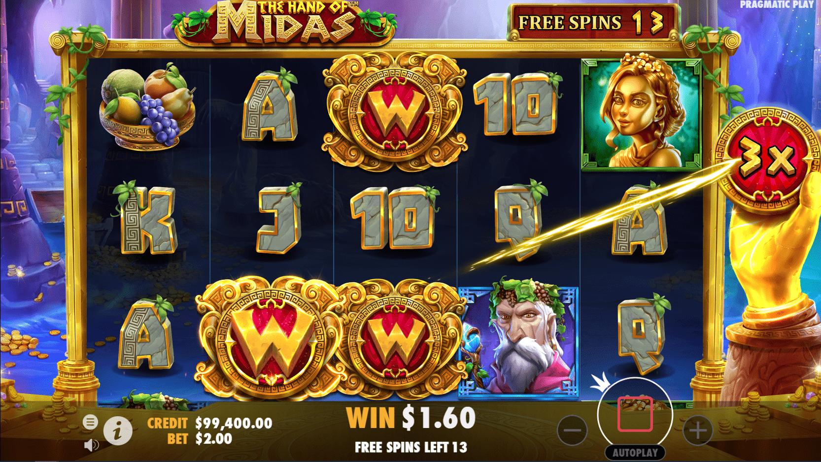 The Hand of Midas Slot Machine Free Spins Sticky Wilds