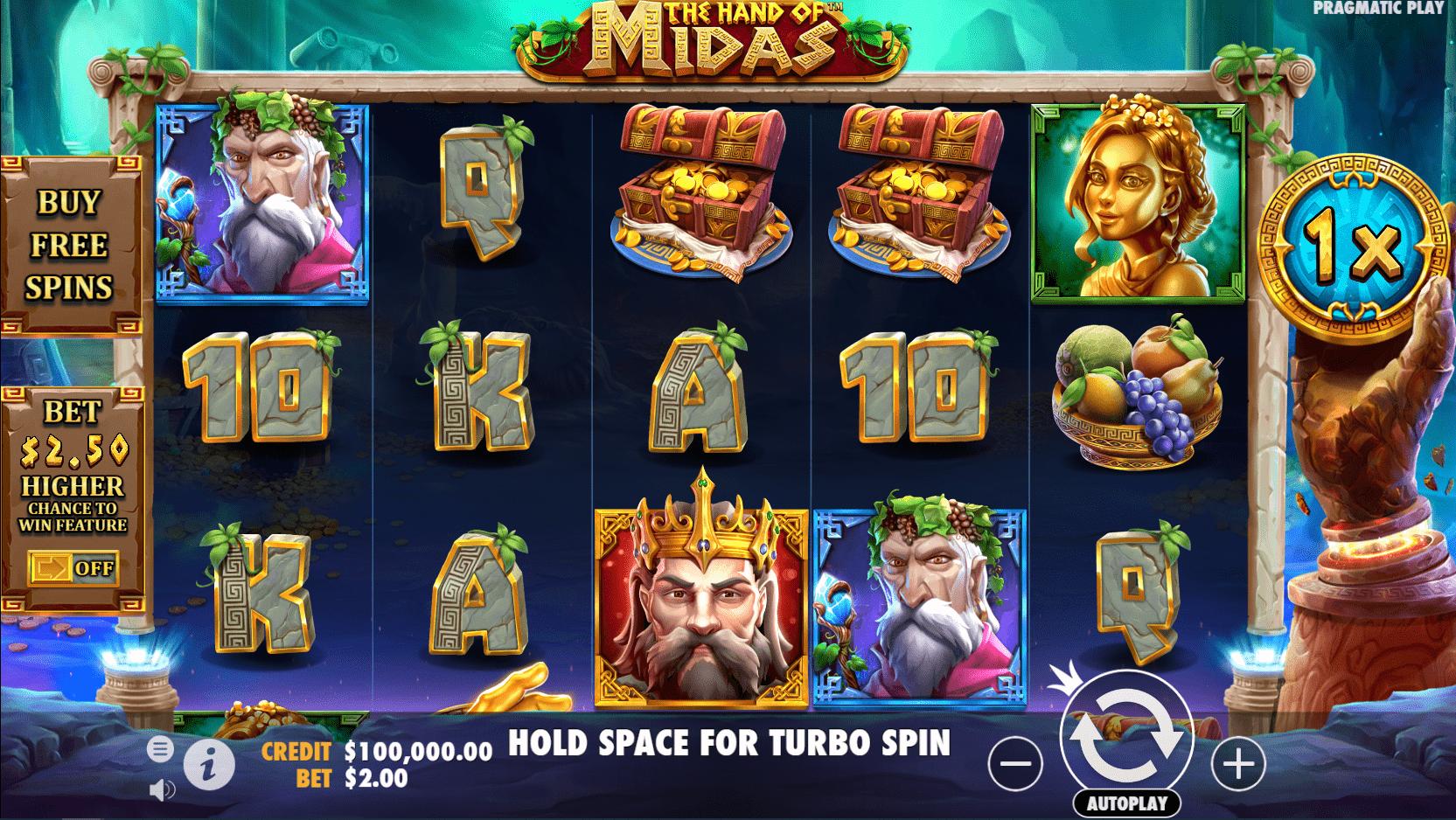 The Hand of Midas Slot Machine Base Gameplay