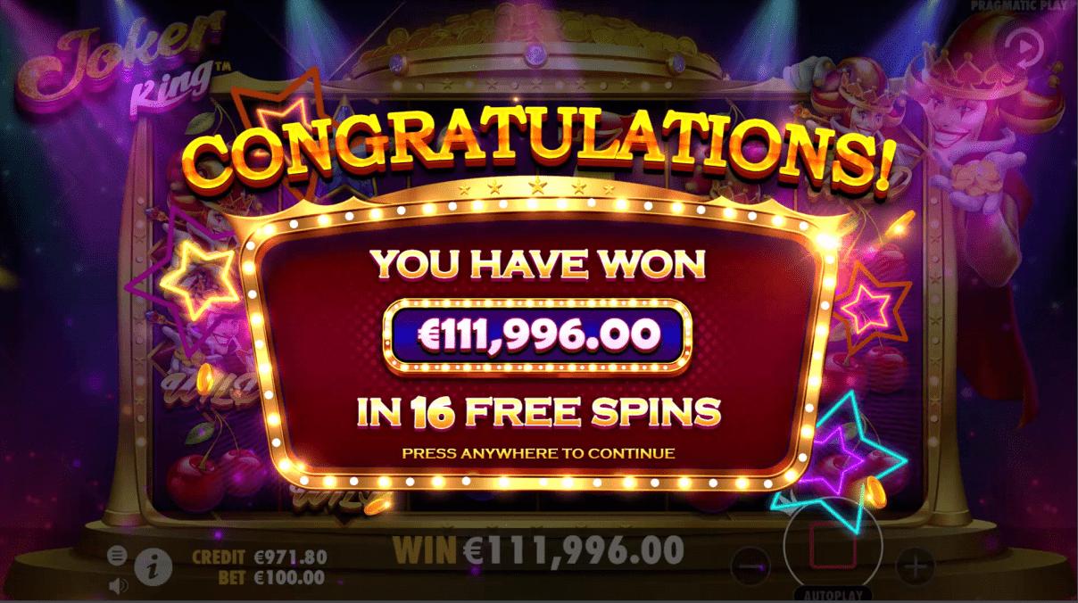 Joker King Slot Machine Big Win